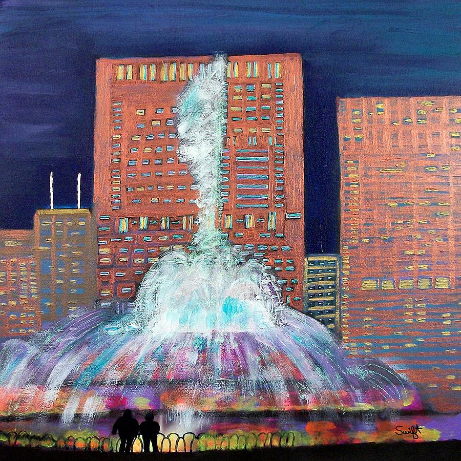Chicago Painting - Chicago Buckingham Fountain At Night by Char Swift