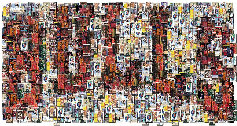 Chicago Bulls Photograph - Chicago Bulls Michael Jordan Cards Mosaic by Paul Van Scott