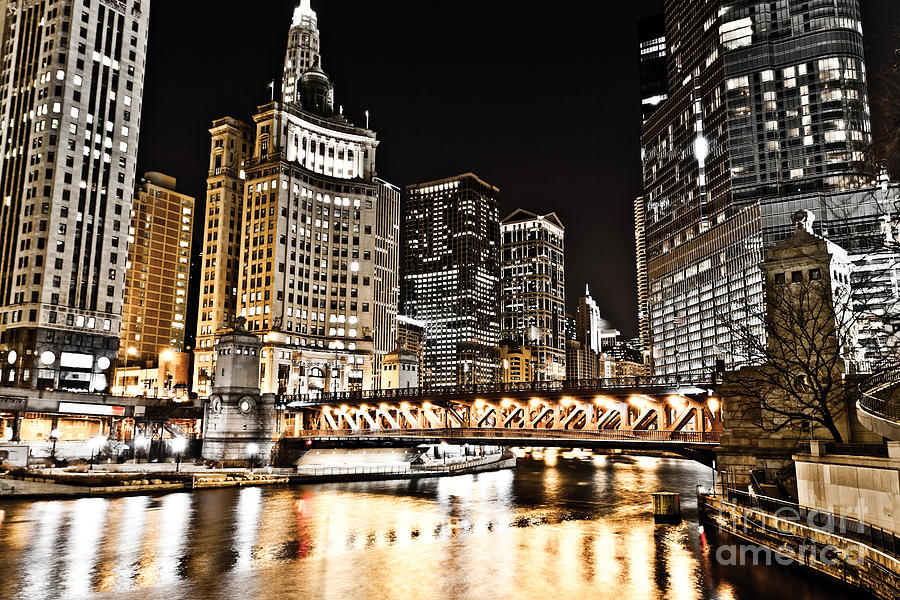 America Photograph - Chicago City At Night by Paul Velgos
