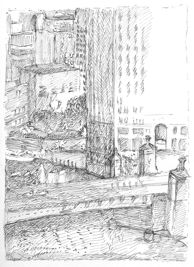 Chicago Drawing - Chicago City Scape by Elizabeth Carrozza