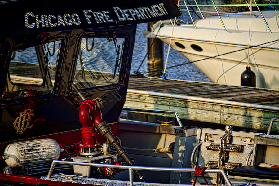 Chicago Photograph - Chicago Fire Department Boat  by Sven Brogren