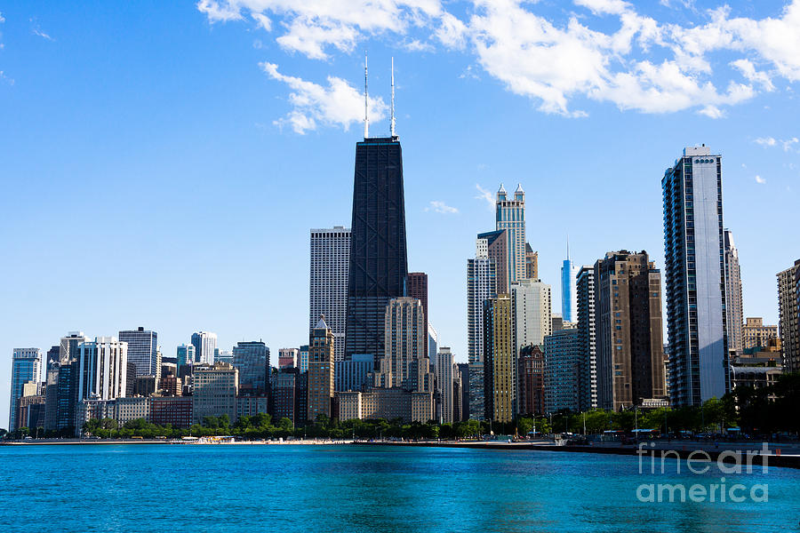 America Photograph - Chicago Lakefront With John Hancock Building by Paul Velgos