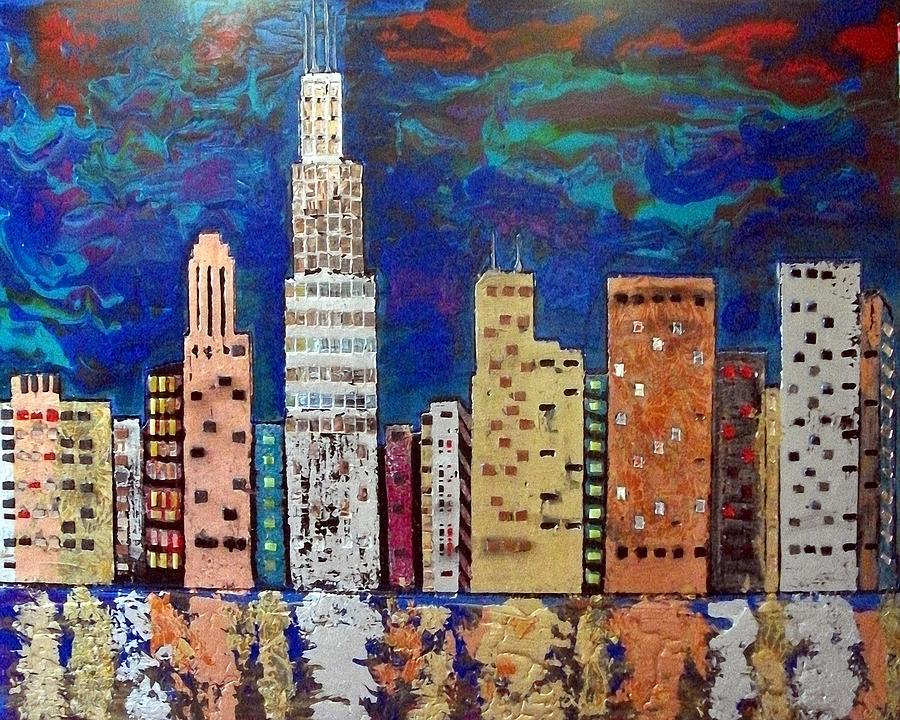 Chicago Painting - Chicago Metallic Skyline Reflections by Char Swift