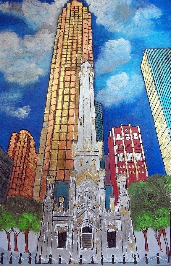 Chicago Painting - Chicago Old Water Tower by Char Swift