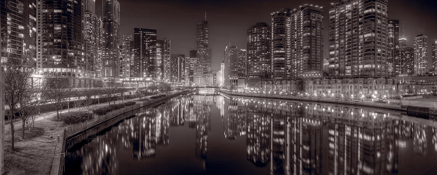 Chicago Photograph - Chicago River East Bw by Steve Gadomski