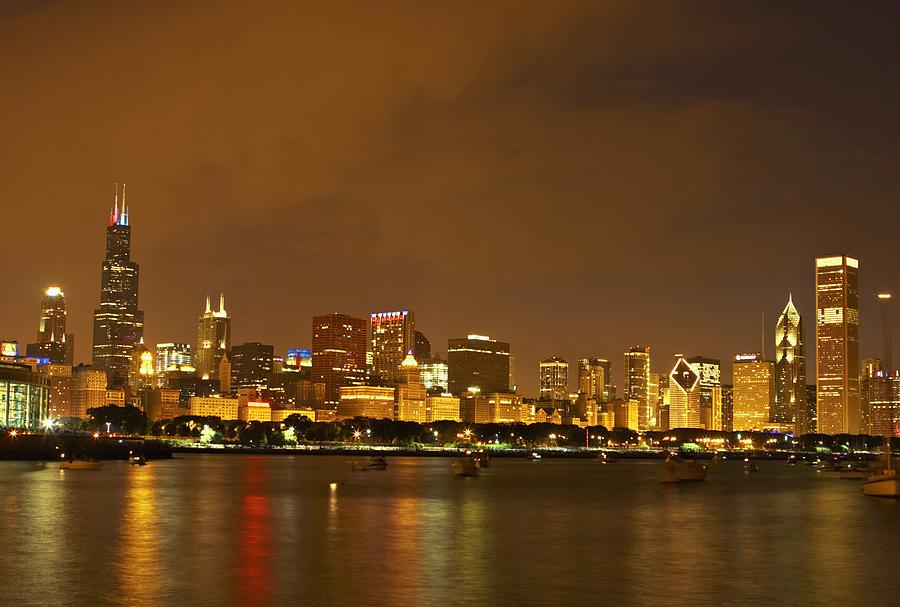 Horizontal Photograph - Chicago Skyline At Night by Axiom Photographic