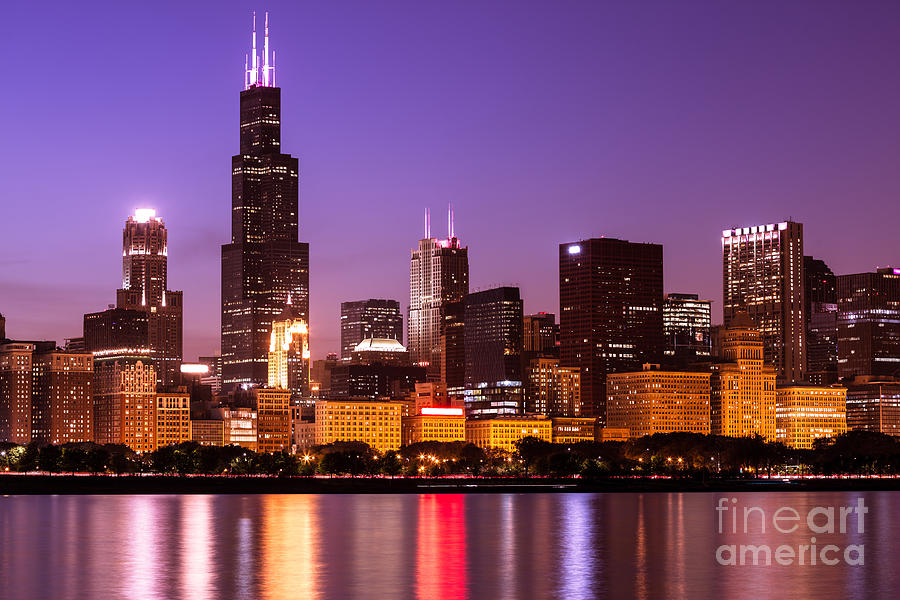 Chicago Skyline At Night High Resolution Image Photograph By Paul Velgos