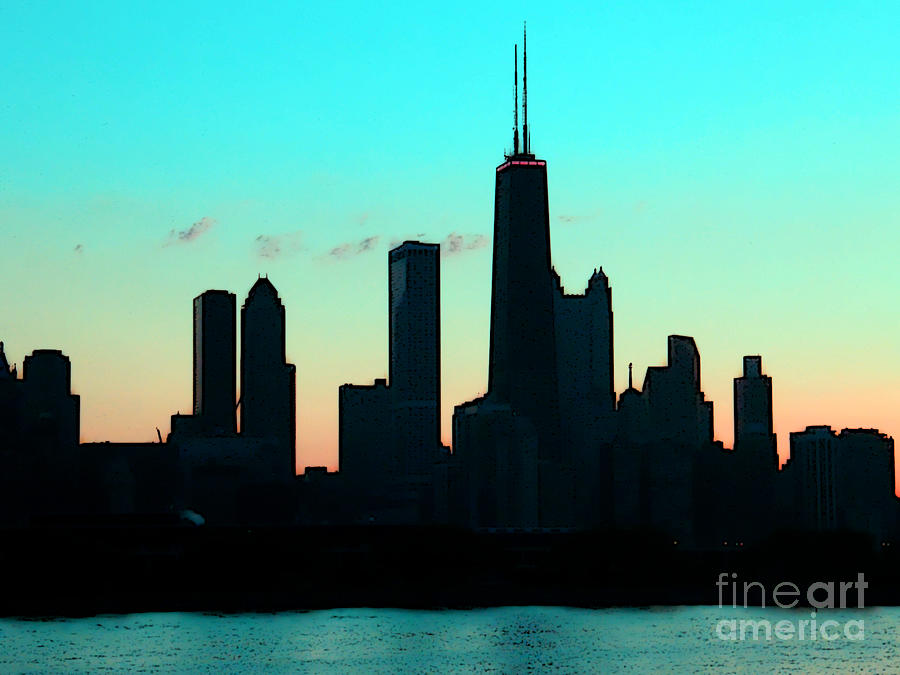 Chicago Photograph - Chicago Skyline Cartoon by Sophie Vigneault