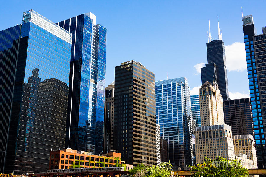 city building. 2012 Photograph  Chicago Skyline Downtown City Buildings by Paul Velgos