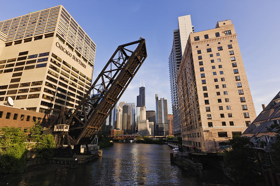 Chicago Skyline From The Kinzie Street Bridge Photograph by Jeremy Woodhouse