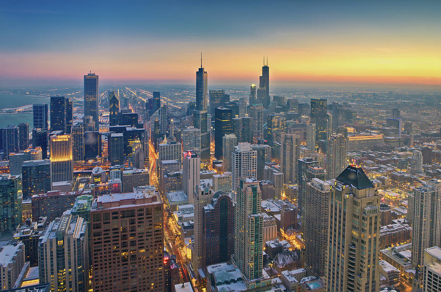 Horizontal Photograph - Chicago Skyline In Blue Hour by Delobbo.com
