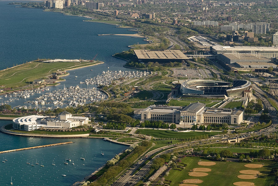 Aerial Photograph - Chicagos Lakefront Museum Campus by Steve Gadomski