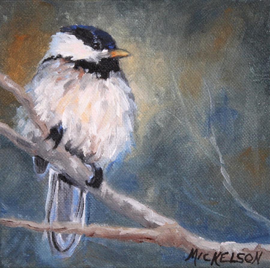 Bird Painting - Chickadee Fledgling by Debra Mickelson