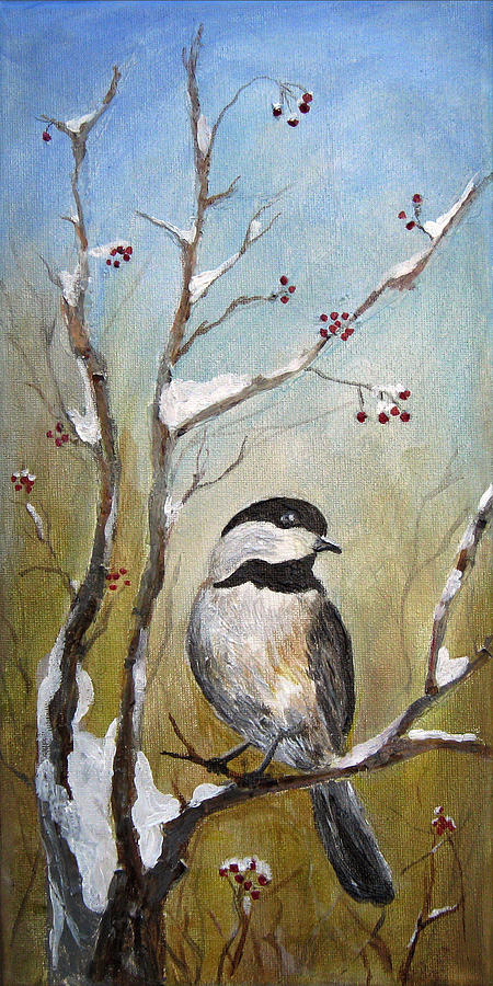 Chickadee Painting - Chickadee Part 1 by Karen Copley