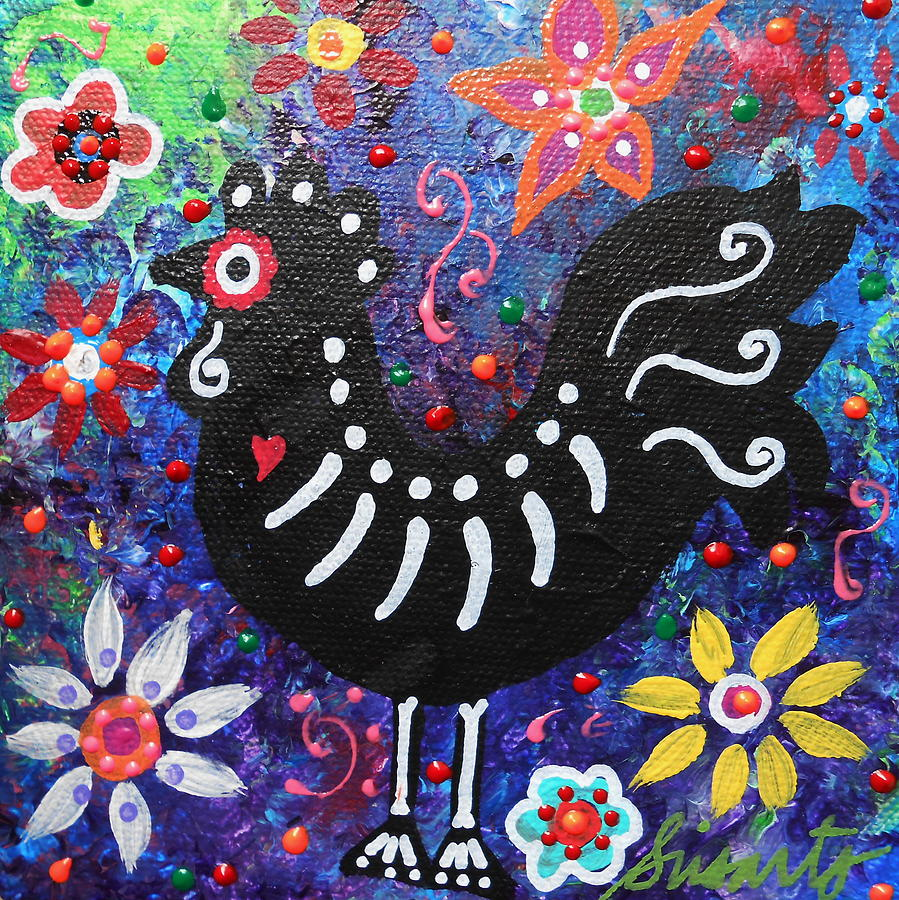 Chicken Painting - Chicken Day Of The Dead by Pristine Cartera Turkus