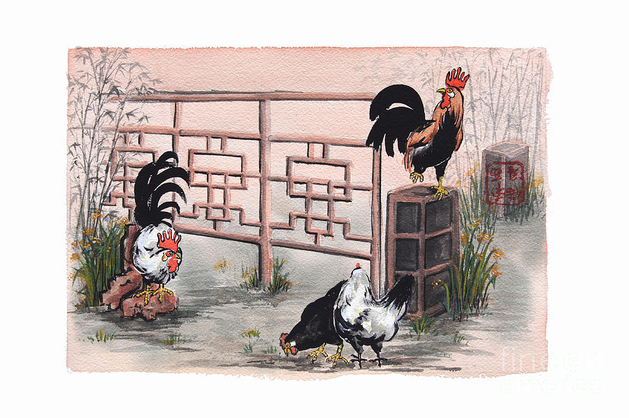 Cocks Painting - Chickens At The Gate by Nancy Pahl