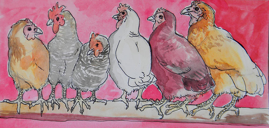Hens Painting - Chickens by Jenn Cunningham