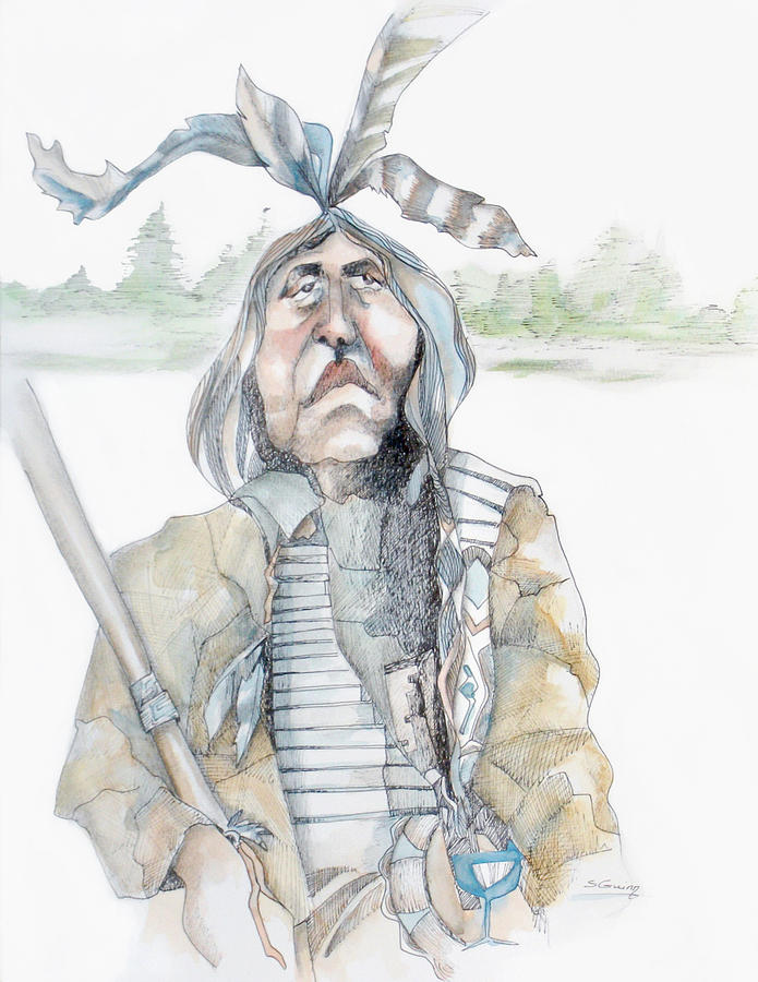 Bird Painting - Chief And Blue Bird by Shane Guinn
