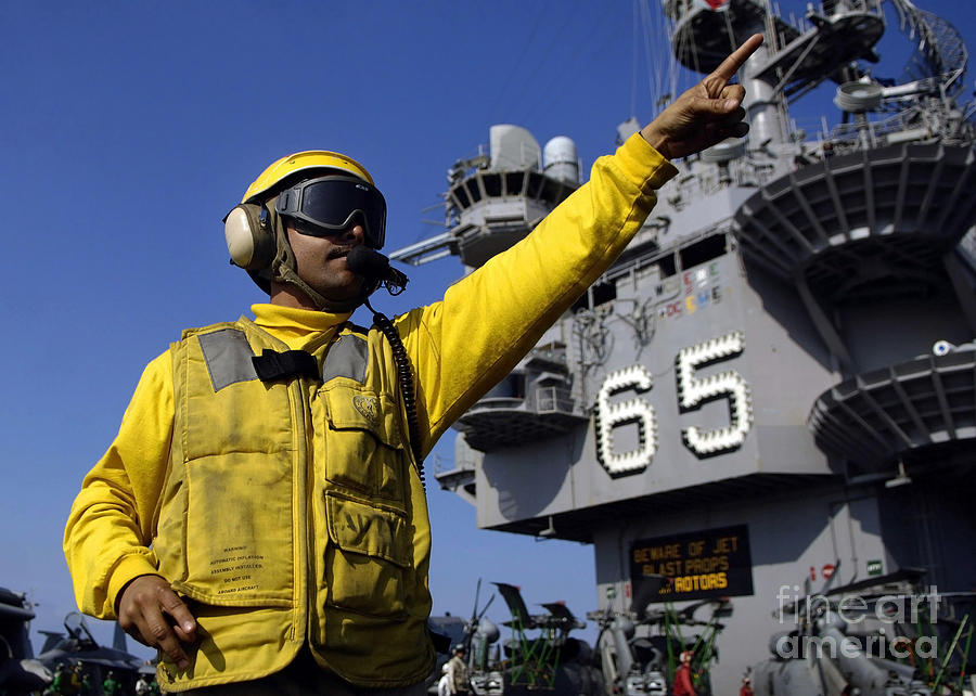Color Image Photograph - Chief Aviation Boatswains Mate Directs by Stocktrek Images