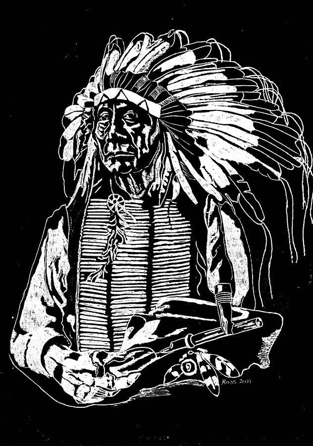 Chief Red Cloud Glass Art - Chief Red Cloud 2 by Jim Ross