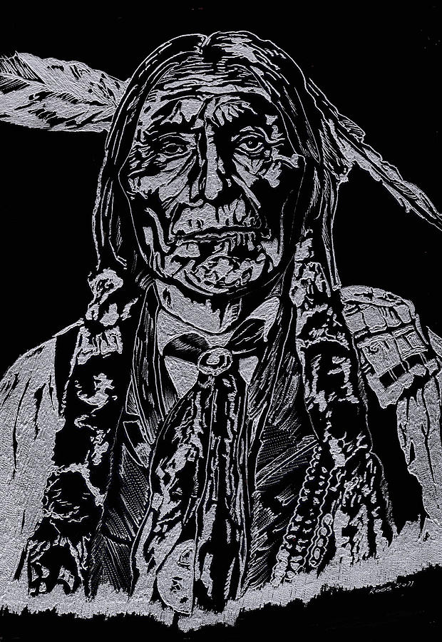 Chief Glass Art - Chief Wolf Robe by Jim Ross