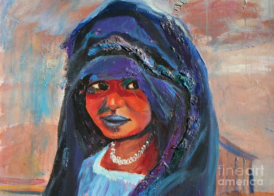 Child Portrait Painting - Child Bride Of The Sahara - Close Up by Avonelle Kelsey