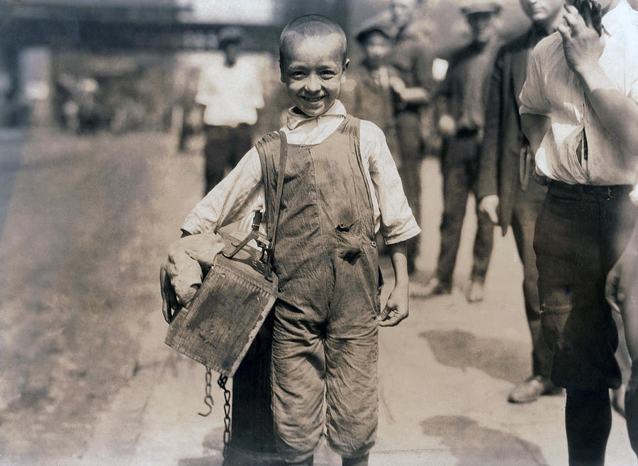 1920s Candid Photograph - Child Labor, Bootblack Near Trinity by Everett