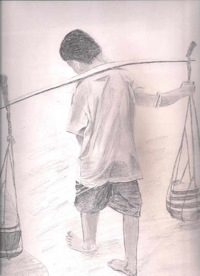 Child Labour Drawing by Sumit Tikhe