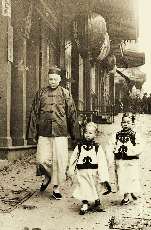 Chinese New Year Photograph - Children Dressed For New Year Visit by Padre Art