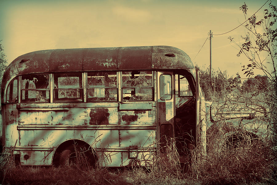 School Bus Photograph - Children Gone Away by Tony Grider