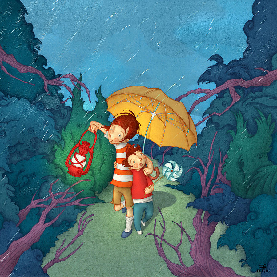 Illustration Painting - Children On Nocturnal Forest by Autogiro Illustration