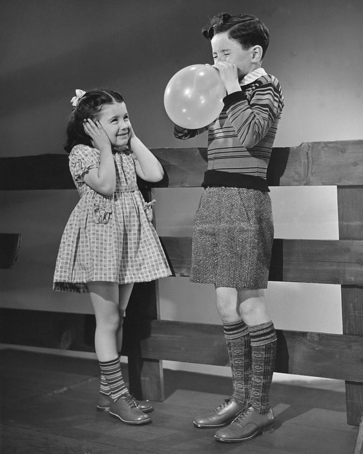 Child Photograph - Children Playing With Ballons by George Marks