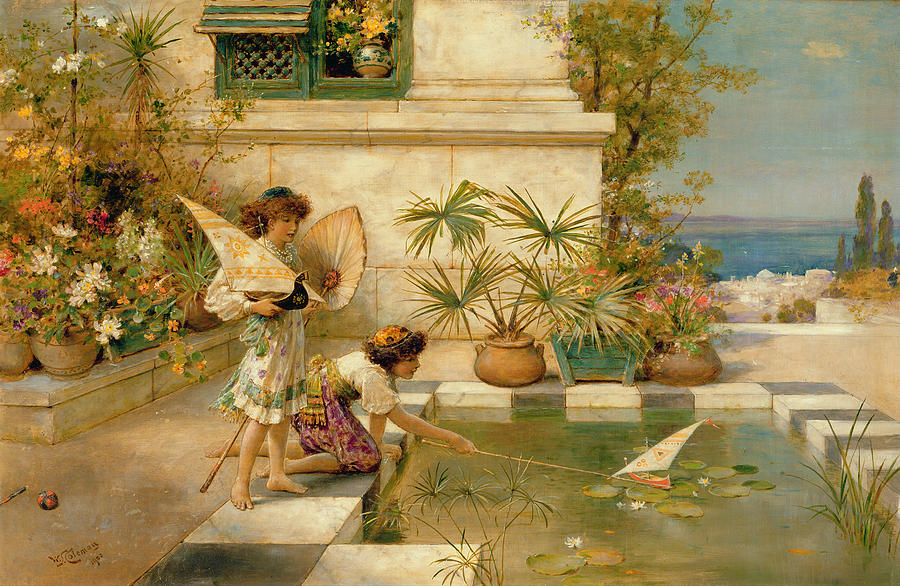 Children Painting - Children Playing With Boats by William Stephen Coleman