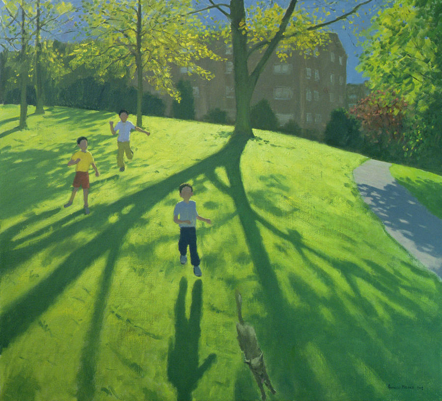 Child Painting - Children Running In The Park by Andrew Macara