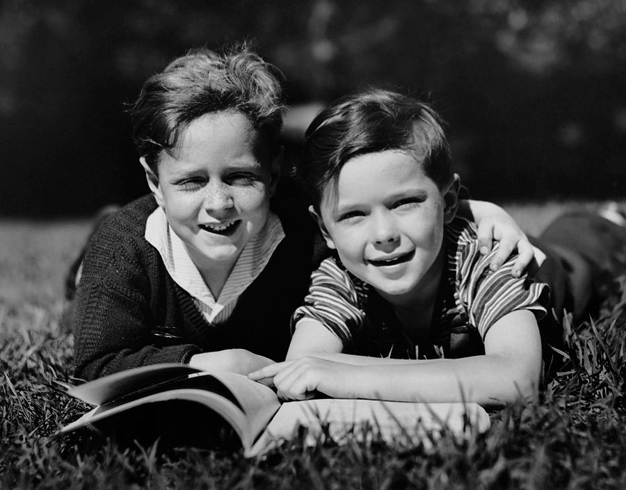 Child Photograph - Children W/ Book Outdoors by George Marks