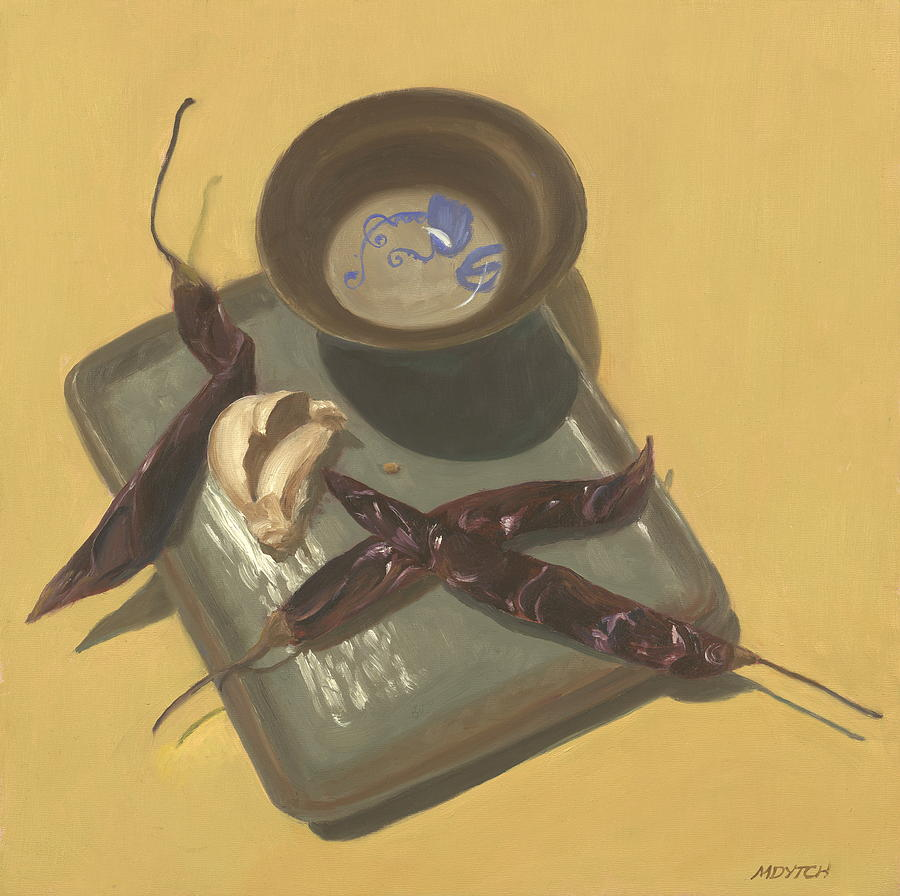 Still Life Painting - Chilies Japones And Garlic by Meredith Dytch
