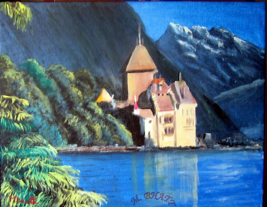 Castle Painting - Chillon Castle by M Bhatt