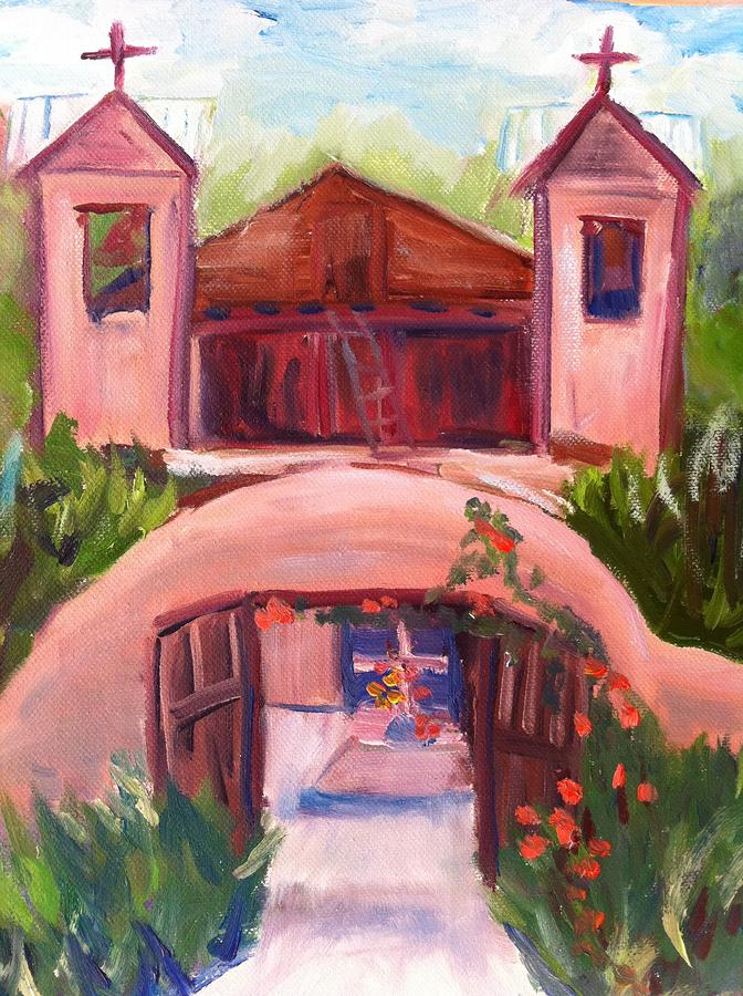 Chimayo Church In New Mexico Painting By Joan Bohls