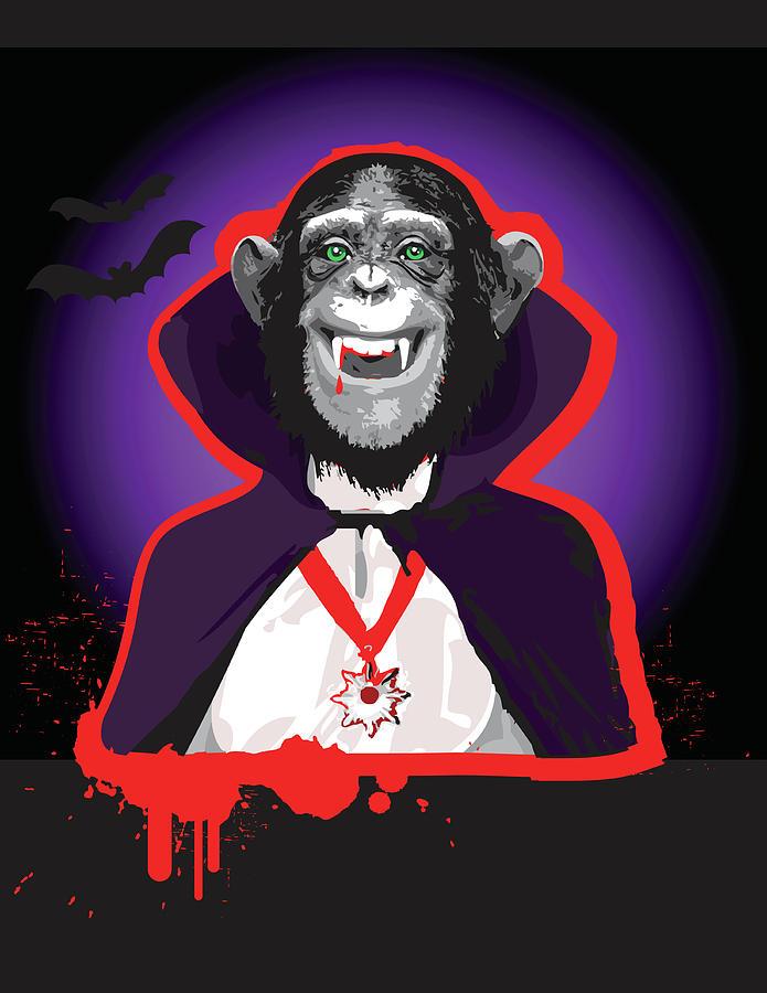 Chimpanzee In Dracula Costume Digital Art by New Vision Technologies Inc