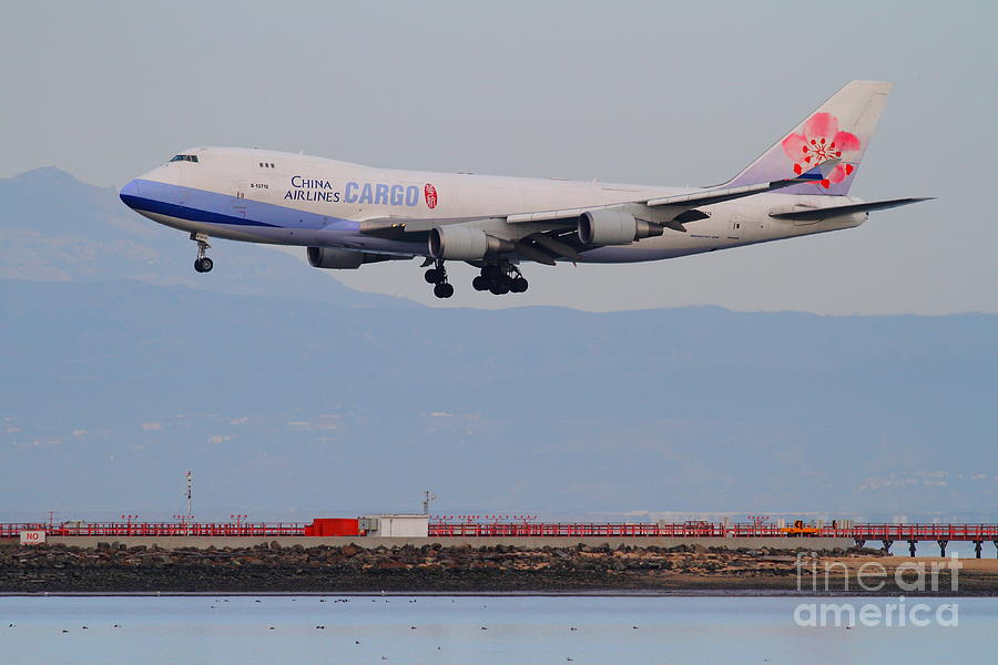 Airplane Photograph - China Airlines Cargo Jet Airplane At San Francisco International Airport Sfo . 7d12299 by Wingsdomain Art and Photography