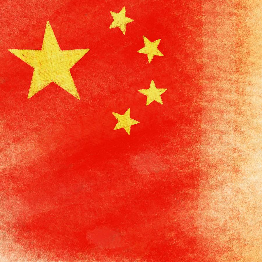Aged Painting - China Flag by Setsiri Silapasuwanchai