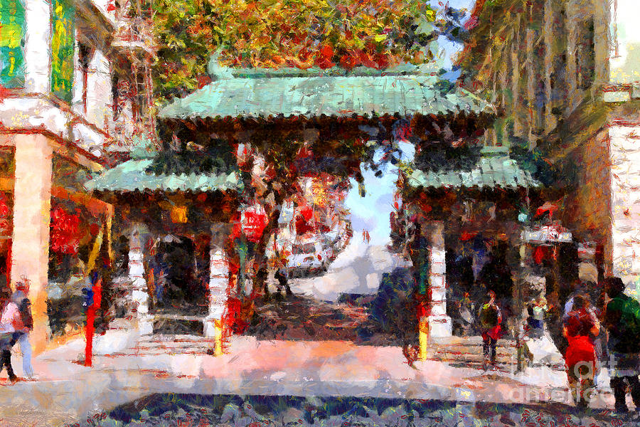 San Francisco Photograph - Chinatown Gate In San Francisco . Painterly . 7d7139 by Wingsdomain Art and Photography