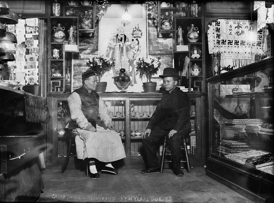 1920s Candid Photograph - Chinatown, Receiving New Years Guests by Everett