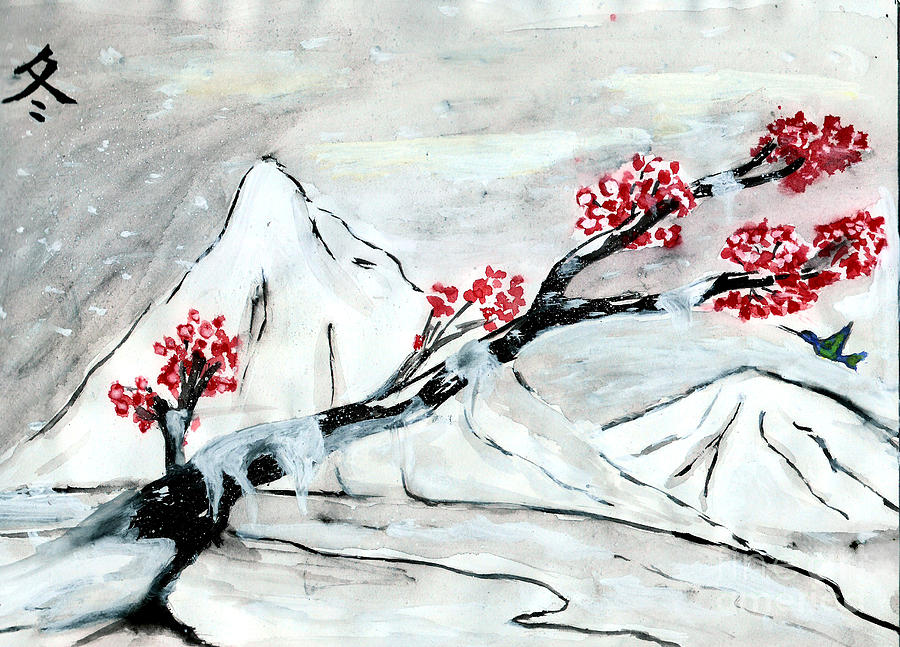 Winter Drawing - Chinese Brush Paint Winter by Shashi Kumar