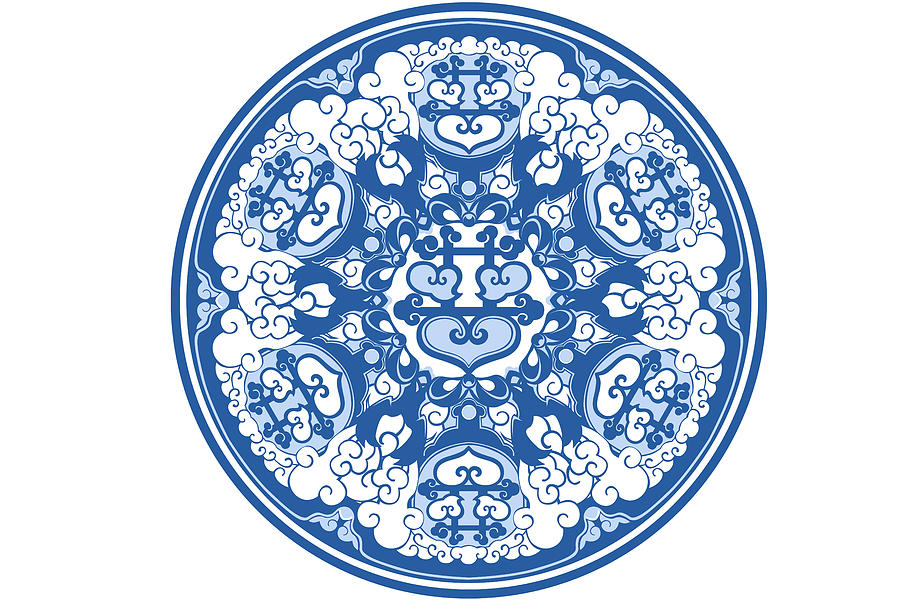 Chinese Traditional Blue And White Porcelain Style Pattern Digital Art by BJI Blue Jean Images