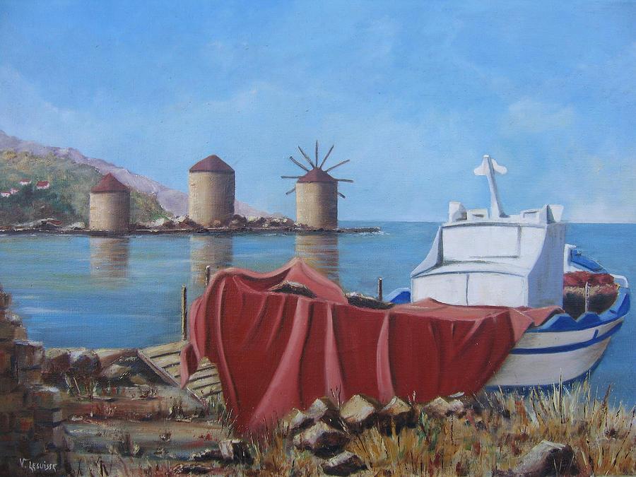 Landscape Painting - Chios - Khios - Tris Milis - Trois moulins by Lesuisse Viviane