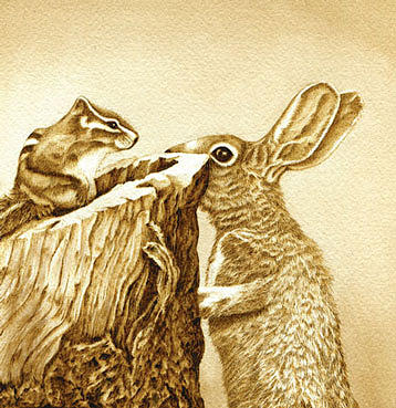 Chipmunk Drawing - Chipmunk And Bunny by Cate McCauley