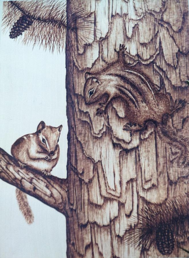 Chipmunk Pyrography - Chippy Love by Susan Rice