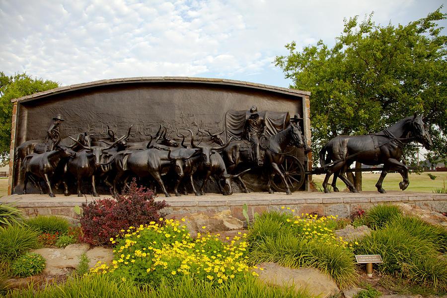 Landscape Photograph - Chisholm Trail Monument by Toni Hopper