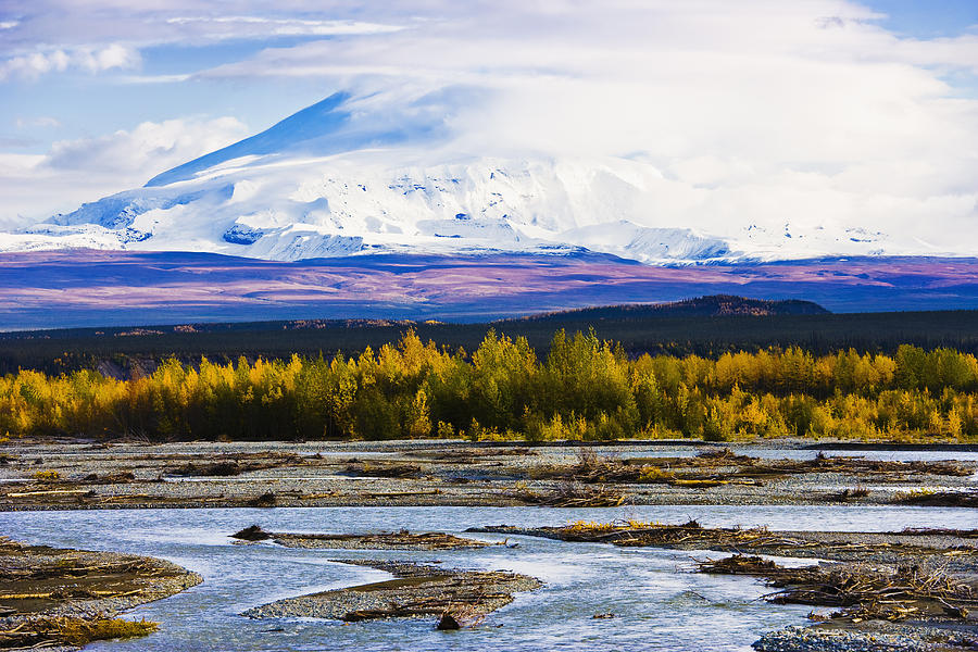 Autumn Photograph - Chistochina River And Mount Sanford by Yves Marcoux